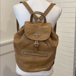 Excellent condition Prada Medium Tan Backpack